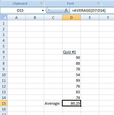 Figure 1: The Average in Excel