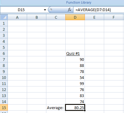 Figure 12: The Average Function in Excel.