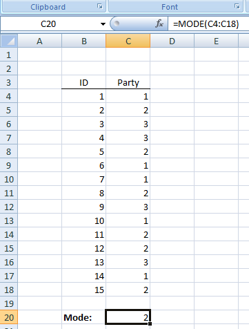 Figure 14:  The Mode in Excel.