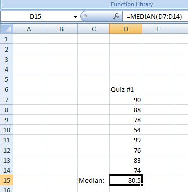 Figure 13:  The Median in Excel.