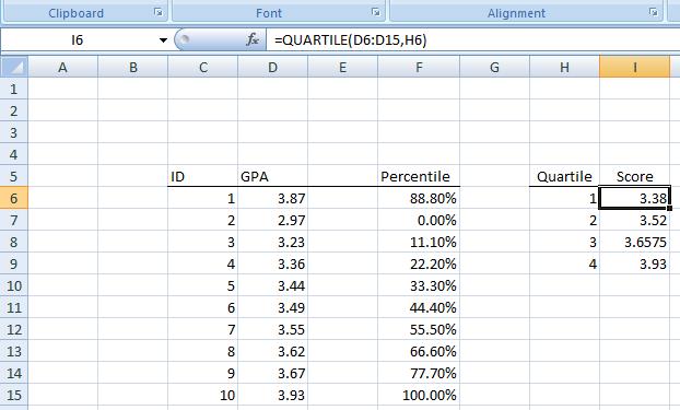 Figure 15: Quartiles in Excel