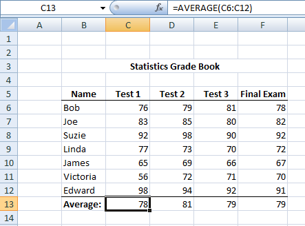 Figure 2: Gradebook in Excel.