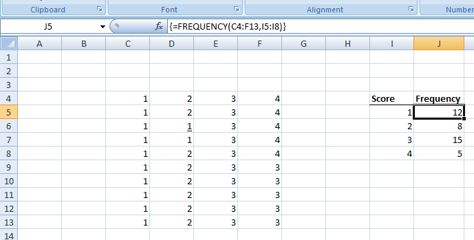 Figure 8: Frequency Distributions in Excel.