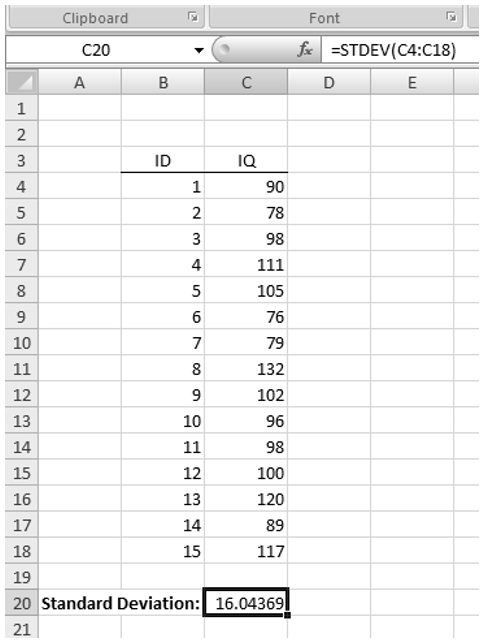 screenshot of the standard deviation computed in Excel