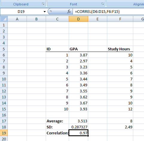Figure 23. The CORREL Function in Excel