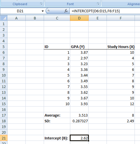 Figure 25. Computing the intercept in Excel.